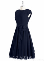 Wholesale Green Bridesmaids Dresses Knee Lenght - 2016 Navy Blue Bridesmaids Dresses With Sash Bow A Line Scoop Knee Lenght Cap Sleeve Bridesmaid Dress Vintage Gowns