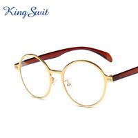 Wholesale Eye Glasses Temple - KingSwit 2016 Famous Brand Round Eyeglasses For Men & Women Golden Metal Frame Eye Glasses Plastic Temple Reading Eyewear KE125