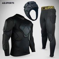 Wholesale Helmet Set - Rugby goalkeeper jersey 2017 shirt goalkeeper helmet pants short elbow knee pad set