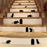 Wholesale Mouse Wall Stickers - 1pcs cute Funny 3d cartoon Mouse Holes home wall sticker wall decor Children room Decor 360 Vinyl Sticker Decal