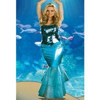 Wholesale Adult Sea Costume - Wholesale-Three-piece Sea Diva Costume Sexy Mermaid Costume for Carnival Ladies Adult Sexy Mermaid Dancing Fancy Dress L1269