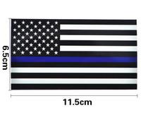 ingrosso bandiera finestra per auto-Adesivi per decalcomanie per bandiere auto con linea sottile blu, adesivi per auto da 2,5 pollici a bandiera americana da 2,5 pollici