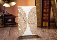 Wholesale Butterfly Envelopes - Gold custom personalized laser cut Wishmade invitation cards with butterfly CW5009, with envelopes, seals, personalized printing,