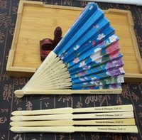 Wholesale Wholesale Grooming Bag - 50Pcs Personalized Ladies Hand Fan Bamboo,Chinese Folding Fan Wedding Favors With Organza Bag,Customized Bride & Groom Name & Date