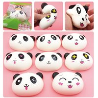 Wholesale Panda Phone Plugs - New Arrived 10cm Jumbo Panda Squishy Charms Kawaii Buns Bread Cell Phone Key Bag Strap Pendant Squishes 3.5mm dust Plug
