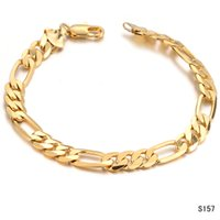 Wholesale Real Gold Bracelet Men - 18K Real Gold Plated Bracelet Men Jewelry New Trendy 7.7mm Wide Men gold Chain