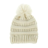 Wholesale girl baby cap hair for sale - Group buy new autumn and winter hot children s wool knit hat warm earmuffs men and women baby hair ball cap