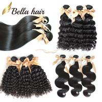"Wholesale Deep Wave Full Head Weave - Brazilian Hair Human Hair Extensions Full Head Bundles Virgin Hair Weaves 8A 8""-30"" Curly Body Wave Straight Bellahair Double Weft"