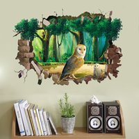 3D Broken Wall Sticker Cave Forest Owls Sticker mural DIY Décoration Décoration Salon Canapé Contexte