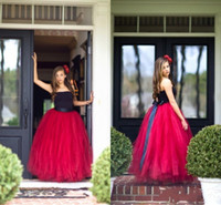 Wholesale Stapless Wedding Gowns - 2016 Red And Black Flower Girl Dresses Stapless A Line Tulle Long Girls Pageant Christenning Gowns Wedding Party Dress Kids Formal Wear