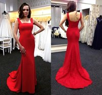 Wholesale Cheap Rayon Shirts - Elegant Mermaid Red Prom Dresses Square Neckline Cheap Long Evening Gowns for Women Red Carpet Dress Formal Evening Gowns