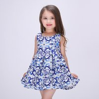 Wholesale China Blue Lace Dress Wholesale - 2016 Spring Summer China Blue Art Dresses Girls Princess Dress Satin Kids Tutu Dress Ball Dress 7pcs lot K6919