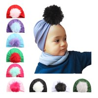 Wholesale Hair Bump Accessory - Children Bumping Hair Ball Set Hats 9 Color Autumn Winter Fund Baby Hat European Kids Caps Baby Clothes Accessories