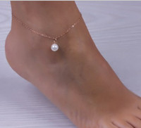 Wholesale Christmas Bracelets For Girls - Simulated Pearl Pendant Ankle Bracelet Silver Gold Plated Chain Link Beach Anklets Foot Jewelry For Women Anklets Foot Accessories FE