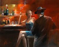 nackter kunstmann großhandel-Wandkunst Cigar Bar Frau und Männer, reine handgemalte moderne Pop-Art-Ölgemälde auf Canvas.Multi Größen, Wohnzimmer Büro Hotel Dekor