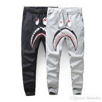 Wholesale winter harem - Men's Black Grey Shark Pants Trousers Fashion Harem Pants Autumn Winter Fleece Sportswear Long Trousers Jogger Running Sweatpant
