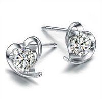 klasik gümüş küpeler toptan satış-Vintage Kalp Şekli Küpe Moda Bohemian Aşk Sonsuza Kadınlar Saplama Küpe 30% 925-Sterling-Silver Kulak Takı Kalp Şekli Damızlık