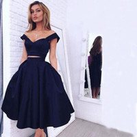Wholesale Black Sweetheart Crop - 2016 Two Pieces Cocktail Dress Evening Wear Dark Navy Sweetheart Crop Top with Strapls Tea Length Prom Party Gowns Cheap High Quality