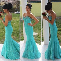 Wholesale Slim Fit Sweetheart Lace - Formal Turquoise Lace Mermaid Evening Dresses Beaded Sweetheart Sweep Train Fitted Slim Prom High Quality Evening Gowns