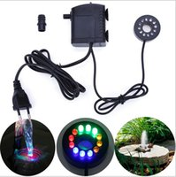 Wholesale Electric Aquarium Water Pump - 2016 new arrivals Electric Submersible Pump with12 Color LED Light for Aquarium Fountain Fish Tank Light Water Pump Water Circulating