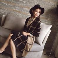 Wholesale Long Double Sided Shawl Wrap - Elegant Women Double sides Long Scarf Warm Cashmere like Plaid Shawl