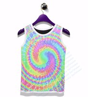 Wholesale Dye Pastel - Wholesale- Real AMERICAN US size Pastel Tie Dye Swirl Tank 3D Sublimation Print OEM Custom Made Clothing Plus Size