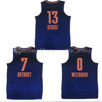 Wholesale Mens Hockey Jerseys - Top quality Mens 13# paul george jersey 7 Carmelo Anthony 0 Russell Westbrook 2017-18 New jerseys 100% Stitched