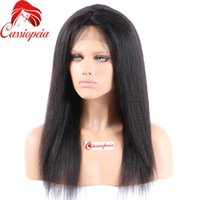 Wholesale Indian Yaki Remy Hair - Indian Remy Full Lace Human Hair Wigs Yaki Straight Glueless Virgin Hair Light Yaki Full Lace Wig Lace Front Wigs For Black Women