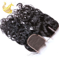 Wholesale Human Wigs Hair Pieces - Water Wave Human Hair Weaves Top Lace Closure Bundles Trendy Unprocessed Vigin Curly Human Hair Wigs Hot Beauty Hair Extensions Piece