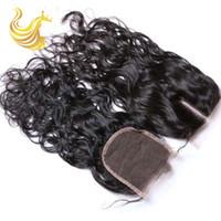 Wholesale Wig Bundles - Water Wave Human Hair Weaves Top Lace Closure Bundles Trendy Unprocessed Vigin Curly Human Hair Wigs Hot Beauty Hair Extensions Piece