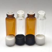 kehribar şişeleri ücretsiz gönderim toptan satış-Yeni 5 ml temizle Cam Yağ Amber Şişe Parfüm Örnek Tüpler Şişe Tak Ve Kapaklar Ile ücretsiz kargo