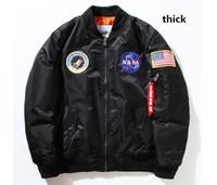 Wholesale Men Jacket Black Thick - hot sell palace NASA bomber thick Jacket men Women Pilot MA1 man Coat winter hombre Flight Air Force black army green Kanye West jacket