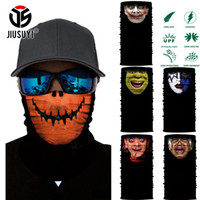 men face mask 2021 - Wholesale- 3D Seamless Magic Bandana Halloween Pumpkin Blame Baby Face Shield Half Tube Face Mask Headband Headwear Ring Head Scarf Men