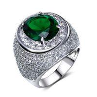 pedra verde clara venda por atacado-Anel muito agradável e transporte rápido! Anéis de ouro 18k com um grande verde / claro e pedra azul anéis de cristal zircônia jóias anel de dedo de luxo