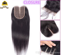 Wholesale Top Head Hair Extensions - High Quality Full Head 1PC Straight Hair Extensions Natural Color Brazilian Indian Peruvian Malaysian 4*4 Closure Top Closures