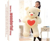 Wholesale Hearts Teddy Bear Gifts - Wholesale-65cm Stuffed Plush Toy Holding LOVE Heart Big Plush Teddy Bear Soft Gift for Valentine Day Birthday Girls' Brinquedos