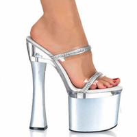 Wholesale Princess Diamond Platform Shoes - 2016 Of Women's Shoes 7 Inch High Luxury Diamond High Heel Sandals Thick Platform Princess Sandals Sexy 18cm Crystal Slippers
