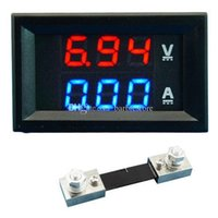 Wholesale Lcd Dc Voltmeter Panel - Dual LED DC Digital Display Ammeter Voltmeter LCD Panel Amp Volt 100A 100V B00328 FASH