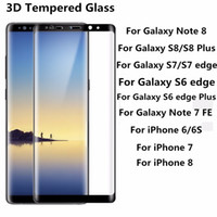 Wholesale Note 3d Covers - For Galaxy Note 8 S8 Plus S7 Edge 0.2MM 3D Full Screen Tempered Glass Full Cover Curved Screen Protector For S6 edge