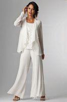 ingrosso giacche donna madre sposa-Pantaloni eleganti della signora in chiffon che si adattano allo sposo della madre della sposa con il vestito della tuta delle donne di formato più del rivestimento del rivestimento