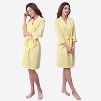 Wholesale Yellow Batik Fabric - Wholesale- Men and women comfortable waffle fabric pajamas sleep gown home casual models women's nightwear home service YF118