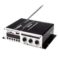 Wholesale Digital Audio Car Amp - Freeshipping Lepy-V9S 2x 20W 2CH Hi-Fi Stereo L R RCA Digital Audio Car Home Amplifier Amp with USB SD DVD CD FM MP3 Power Adapter