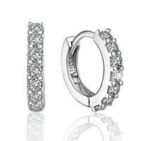 pendientes de plata de la moda de las mujeres al por mayor-925 pendientes de aro de plata esterlina con zircón regalo de compromiso de joyería de moda para las mujeres envío gratis buena calidad