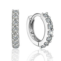 Wholesale Women Earrings Free Shipping - 925 sterling silver small hoop earrings with zircon fashion jewelry engagement gift for women free shipping good quality
