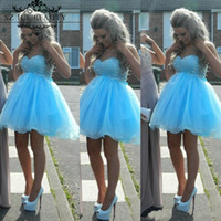 Wholesale Cheap Modest Bling Prom Dresses - Sky Blue Short Prom Homecoming Dresses Cheap 2017 Modest Fast Shipping Bling Crystals Ruffles Lace Up Graduation Party Dress Ball Gowns
