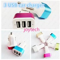 Wholesale Colorful Plug Phone - Colorful charger Universa 3 ports USB car charger travel adapter car plug for I6 6s 6plus samsung galaxy s6 cell phone