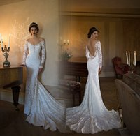 Wholesale Dress Boda - 2017 V Neck Berta Mermaid Wedding Dresses Boda Sexy Backless Long Sleeves Lace Boho Wedding Dresses Bride Dress Vestido Noiva