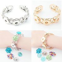 Wholesale magnetic girl - Bright 18mm DIY Noosa Bangle Bracelet With Magnetic Clasp Fit Noosa Chunks Button Charm Girls Gift Without Button Interchangeable E507E