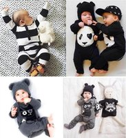 Wholesale Baby Clothes Panda - Wholesale Boys Girls Baby Onesies Cartoon Panda Long Sleeve Baby Rompers Newborn Clothing Jumpers Toddler Jumpsuits Infant Clothes