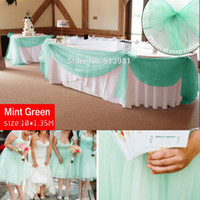 Wholesale Mint Wedding Decorations - Promotion Mint Green 10M *1.35M Sheer Organza Swag Fabric Home Wedding Decoration Organza Fabric Table Curtain ,Hq Free Shipping